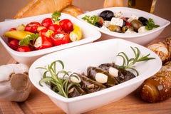 藤叶子充塞用胡椒和地中海开胃小菜 图库摄影