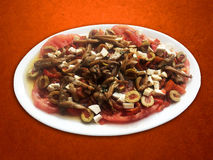 蘑菇、乳酪和蕃茄沙拉 库存图片