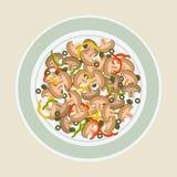 蘑菇、橄榄和胡椒沙拉  库存图片