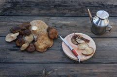 蘑菇、油和刀子在葡萄酒桌里 库存图片