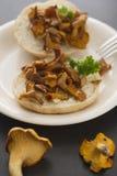 黄蘑菇三明治 免版税库存照片