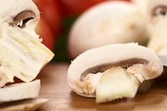 蘑菇切白色 库存图片