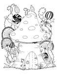 蘑菇和动物 蓝色云彩图象彩虹天空向量 免版税库存图片