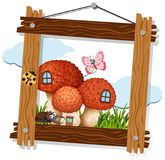 蘑菇和昆虫在木制框架 向量例证