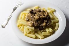 蘑菇和牛肉面团-在白色背景的沙拉酱肉盘 库存照片