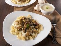 蘑菇和肉 库存图片