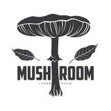 蘑菇商标模板 免版税库存照片