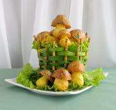 蘑菇土豆 免版税库存图片