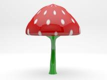 蘑菇塑料被隔绝的3d模型植物 免版税库存照片