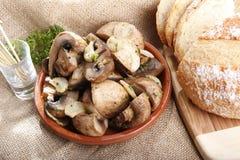 蘑菇大蒜 免版税图库摄影