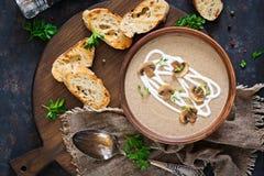 蘑菇奶油色汤 素食主义者食物 饮食菜单 顶视图 库存图片