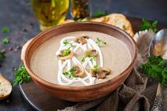 蘑菇奶油色汤 素食主义者食物 饮食菜单 库存照片