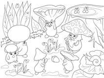蘑菇家庭在森林彩图的儿童动画片传染媒介例证的 库存图片