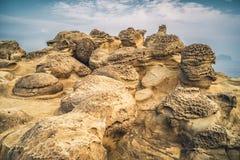蘑菇岩石在瑞芳区,新的台北,台湾沈岙  免版税图库摄影