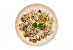 蘑菇意大利煨饭从上面 免版税库存照片