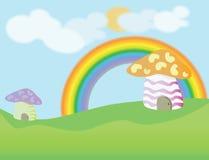 蘑菇房子动画片背景 免版税库存照片