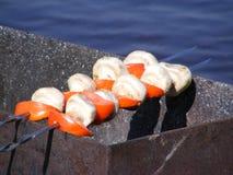 蘑菇格栅蕃茄 图库摄影