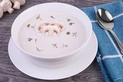 蘑菇汤新鲜的奶油在一个白色碗的 库存照片
