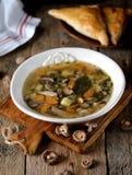 蘑菇汤用土豆、红萝卜、葱和鸡肉在老木背景 土气样式 免版税库存照片