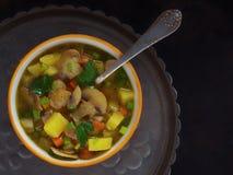 蘑菇汤用土豆,红萝卜,荷兰芹,葱 免版税图库摄影
