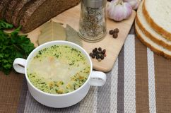蘑菇汤用在一个白色盘的油煎方型小面包片在一张木桌上 免版税库存照片