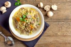 蘑菇汤用小米 免版税图库摄影