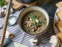 蘑菇汤用青纹干酪和新鲜的荷兰芹 免版税库存图片