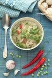 蘑菇汤用面条 库存照片
