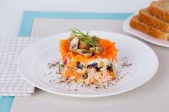 蘑菇沙拉绿色,开胃菜,白色,新鲜,菜, 库存图片