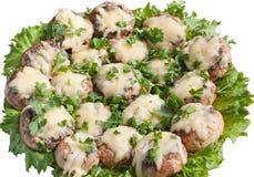 蘑菇烘烤与充塞 库存照片