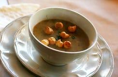 蘑菇片汤多士 库存照片