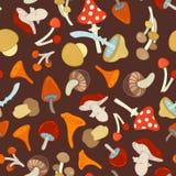 蘑菇的传染媒介无缝的样式 免版税图库摄影