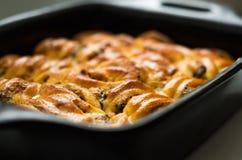 蘑菇砂锅用在一个陶瓷碗的乳酪 库存图片