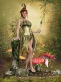 蘑菇草甸的神仙的女孩 免版税库存照片