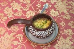 蘑菇菜丝汤用乳酪 库存图片