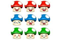 蘑菇集合微笑 库存图片
