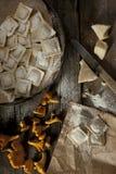 黄蘑菇馄饨 免版税库存照片