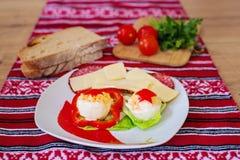 蘸芥末蛋开胃菜用乳酪和蒜味咸腊肠 图库摄影