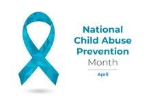 虐待儿童预防月蓝色了悟丝带 免版税图库摄影