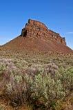 虚张声势高横向山岩石sagebrush 库存照片