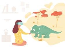 虚拟现实会议恐龙的女孩 向量例证
