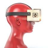 虚拟现实在颜色女性塑料时装模特头,优质的纸板耳机被隔绝回报 免版税图库摄影
