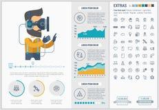 虚拟现实平的设计Infographic模板 免版税图库摄影