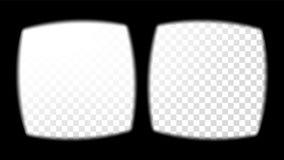 虚拟现实玻璃视域视图传染媒介 在透明背景的覆盖物 银幕框架空白 设计3D VR 免版税库存图片