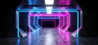 虚拟现实网络科学幻想小说未来派氖发光的外籍人船空间隧道走廊Glowoing充满活力的萤光激光蓝色 库存例证