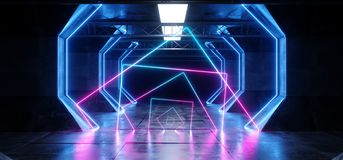 虚拟现实网络科学幻想小说未来派氖发光的外籍人船空间隧道走廊Glowoing充满活力的萤光激光蓝色 皇族释放例证