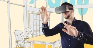 虚拟现实耳机的人实施反对黄色手拉的办公室 免版税库存照片