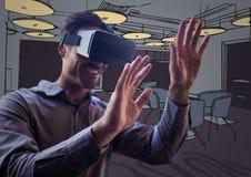 虚拟现实耳机的商人与实施反对紫色手拉的办公室 库存照片