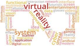 虚拟现实词云彩在风镜形状的文本例证  库存图片
