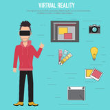 虚拟现实 创造性和想法队的技术 免版税图库摄影